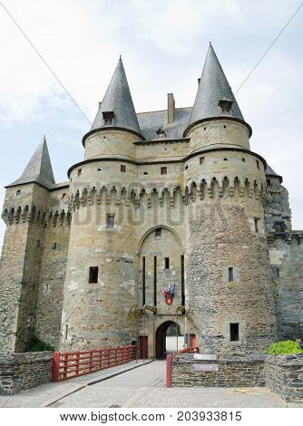 VITRE FRANCE. August 28th 2017. The mediaeval castle at Vitre is a major tourist draw and also functions as the town hall in the present day.