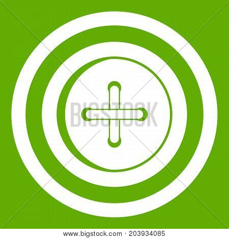 Sewing button with a thread icon white isolated on green background. Vector illustration