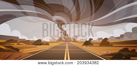 Twisting Tornado Over High Road Hurricane Landscape Of Storm Waterspout In Field Natural Disaster Concept Flat Vector Illustration