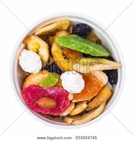 Tasty mixture of candied fruits, nuts, raisins. Studio Photo