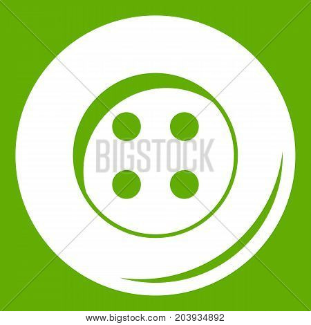 Button for sewing icon white isolated on green background. Vector illustration