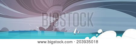 Tornado Incoming From Sea Hurricane In Ocean Beach Landscape Of Storm Waterspout Twister Natural Disaster Concept Flat Vector Illustration