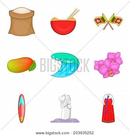 Product from asia icons set. Cartoon set of 9 product from asia vector icons for web isolated on white background