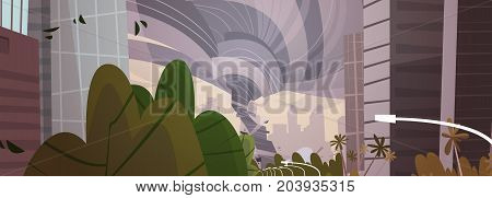 Strong Tornado Destroy City Hurricane Damaging Town, Storm Waterspout Twister Between Buildings Natural Disaster Concept Flat Vector Illustration
