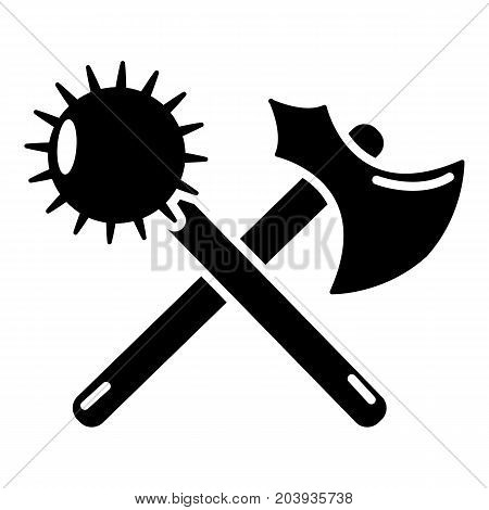 Medieval axe and mace icon. Simple illustration of medieval axe and mace vector icon for web design