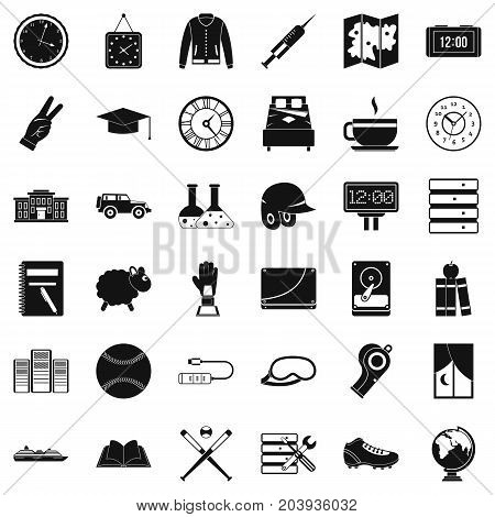 Wall clock icons set. Simple style of 36 wall clock vector icons for web isolated on white background