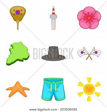 Korea lifestyle icons set. Cartoon set of 9 korea lifestyle vector icons for web isolated on white background