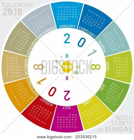 Colorful Calendar For 2018. Circular Design. Week Starts On Sunday
