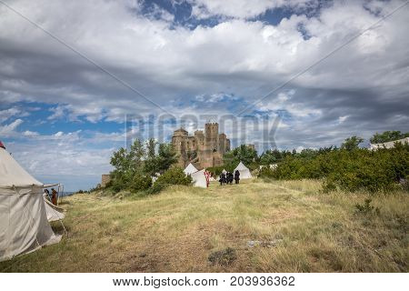 Castle of Loarre and surroundings, Hoya de Huesca Loarre Aragon Huesca Spain, castillo de loarre on a Medieval reenactment demonstration and recreation