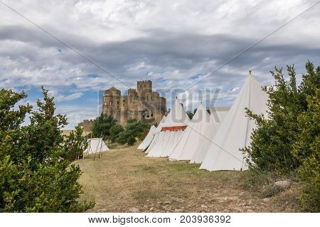 Castle of Loarre and surroundings Hoya de Huesca Loarre Aragon Huesca Spain settlement on a Medieval reenactment demonstration and recreation