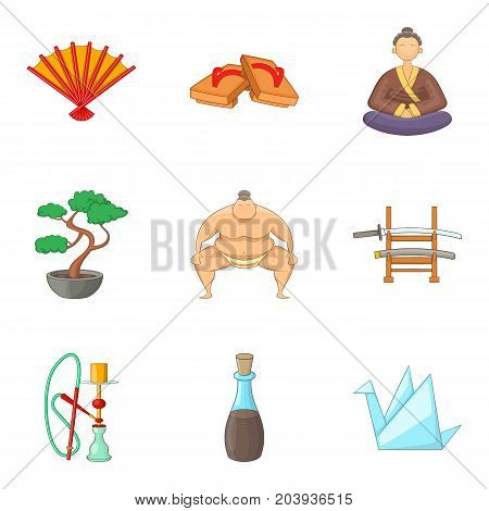 Japanese lifestyle icons set. Cartoon set of 9 japanese lifestyle vector icons for web isolated on white background