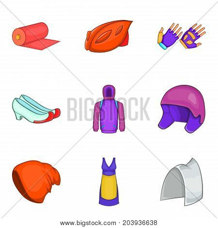Protect clothes icon set. Cartoon set of 9 protect clothes vector icons for web design isolated on white background