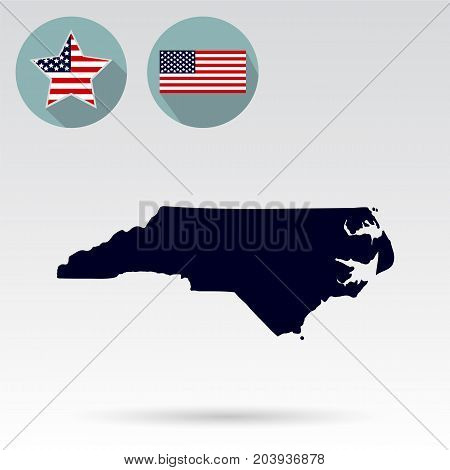 Map of the U.S. state of North Carolina on a white background. American flag, star