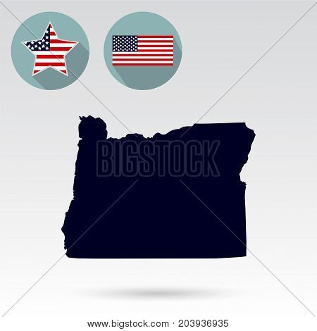 Map of the U.S. state of Oregon on a white background. American flag, star