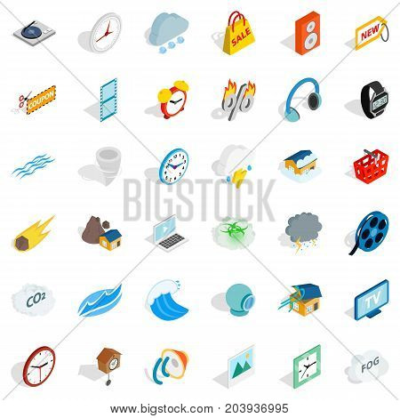 Camera icons set. Isometric style of 36 camera vector icons for web isolated on white background