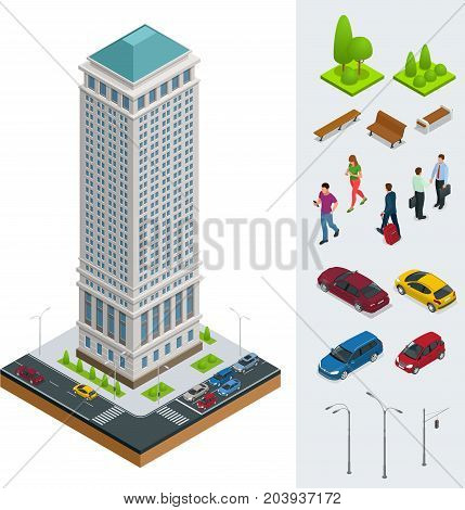 Isometric City modern flat buildings. Financial districtg. Set of vector tall building, trees, benches, businessman, cars on a white background.