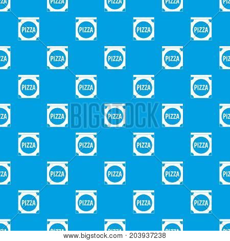 Pizza box cover pattern repeat seamless in blue color for any design. Vector geometric illustration