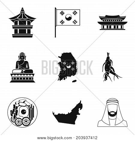 Eastern culture icons set. Simple set of 9 eastern culture vector icons for web isolated on white background