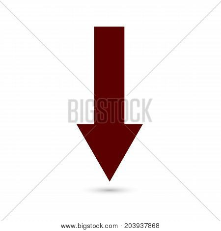 Arrow down icon red on a white background