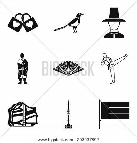 Asian country icons set. Simple set of 9 asian country vector icons for web isolated on white background