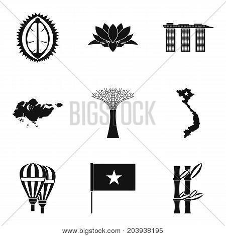 Interesting place icons set. Simple set of 9 interesting place vector icons for web isolated on white background