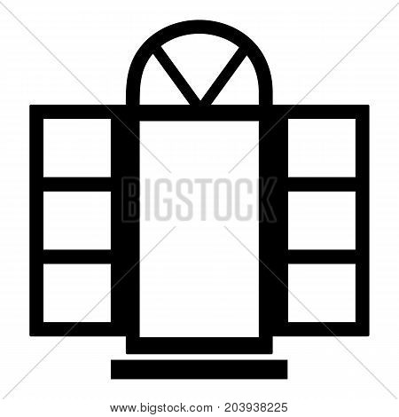 Open narrow window frame icon. Simple illustration of open narrow window frame vector icon for web
