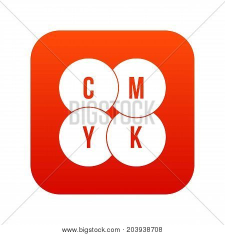CMYK circles icon digital red for any design isolated on white vector illustration