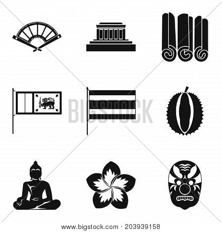 Buddhism icons set. Simple set of 9 buddhism vector icons for web isolated on white background