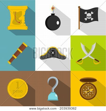 Pirates attributes icon set. Flat style set of 9 pirates attributes vector icons for web design