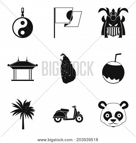 Traveling in Asia icons set. Simple set of 9 traveling in asia vector icons for web isolated on white background