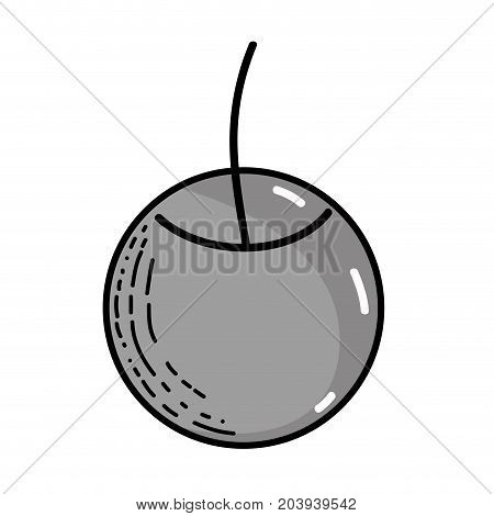 grayscale delicious fresh cherry fruit nutrition vector illustration