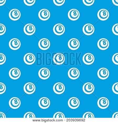Black and white snooker eight pool pattern repeat seamless in blue color for any design. Vector geometric illustration
