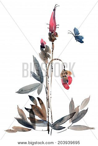 Watercolor and ink illustration of flower buds. Sumi-e u-sin painting.