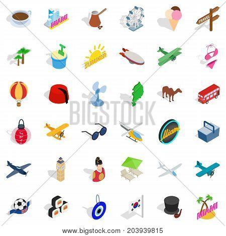 Florida icons set. Isometric style of 36 florida vector icons for web isolated on white background