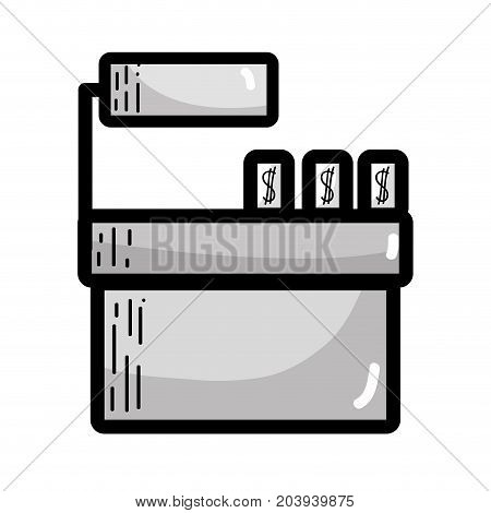 grayscale cash register technology to check products vector illustration