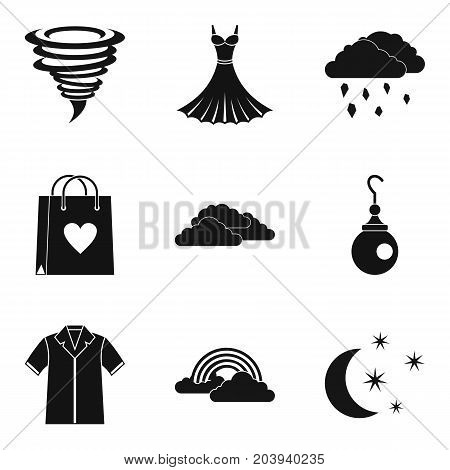 Weather clothing icon set. Simple set of 9 weather clothing vector icons for web design isolated on white background