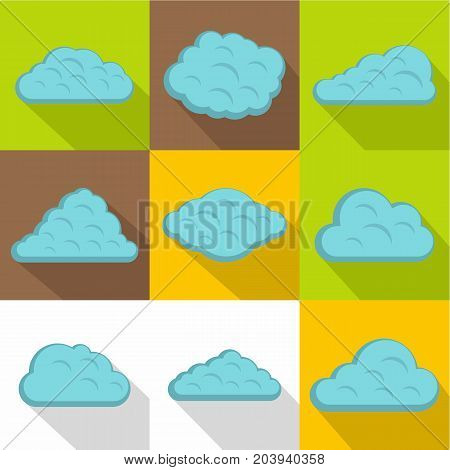 Tropical cloud icon set. Flat style set of 9 tropical cloud vector icons for web design
