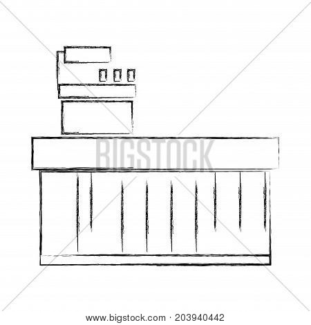 figure cash register technology to check products vector illustration