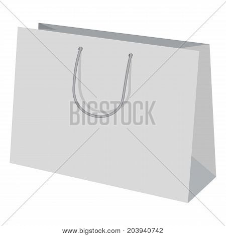 Wide paper bag mockup. Realistic illustration of wide paper bag vector mockup for web design isolated on white background