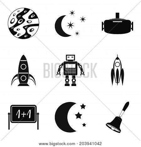 Rocket launch icons set. Simple set of 9 rocket launch vector icons for web isolated on white background
