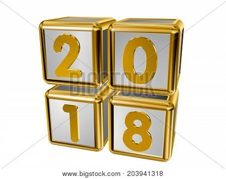 Figures 2018 vertically on gold cubes in 3D isolated on a white background