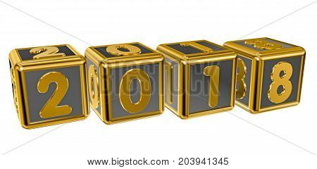 Gold numbers 2018 on gold squares in 3D isolated on a white background