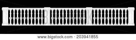 3D Rendering Of A  Fence Railing Design On A Black Background