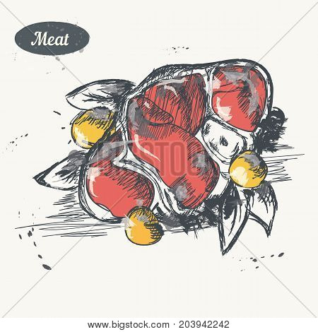 Hand drawn sketch. Meat product . Vector vintage illustration. Isolated object on light beige background. Menu design.