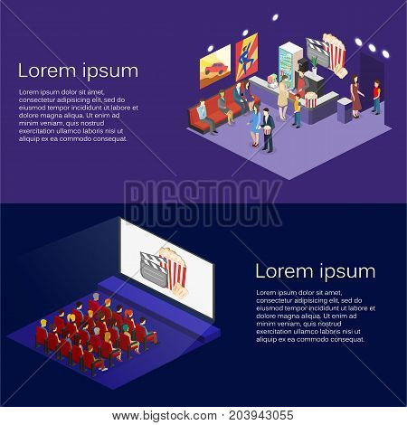 Isometric Flat 3D Concept Vector Interior Of Cinema Hall,cafe.