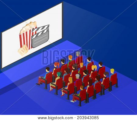 Isometric Flat 3D Concept Vector Interior Of Cinema Hall.