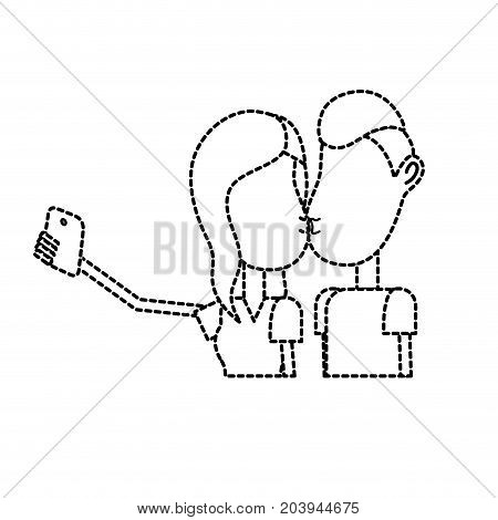 dotted shape couple kissing and taking selfie with smartphone vector illustration