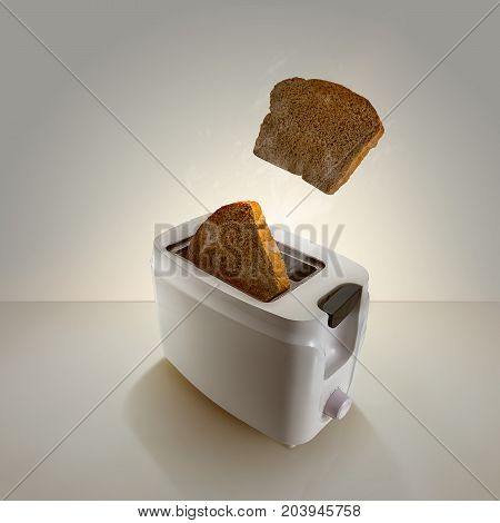 Image of toast coming out of white toaster on light background with toast popping out.