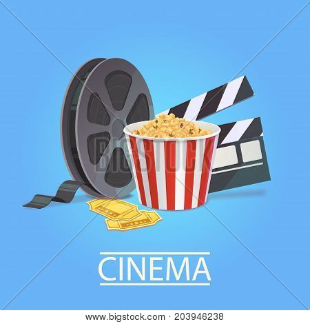 Realistic art for cinema industry. Elements of cinematography: popcorn, filmstrit, tickets, clapperboard . Vector illustration for the film industry.