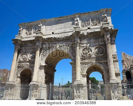 19.06.2017 Rome Italy Europe: Famous Arch of Constantine over blue sky